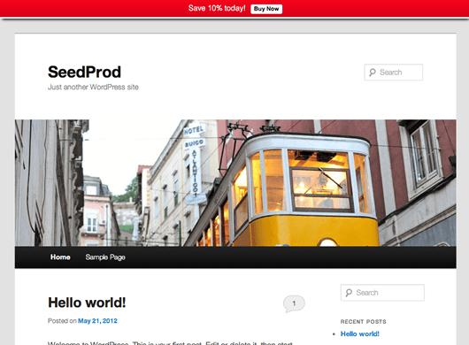 WordPress notification bar plugin front end