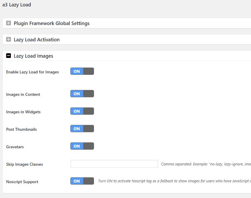 a3 lazy load wordpress plugin image settings option