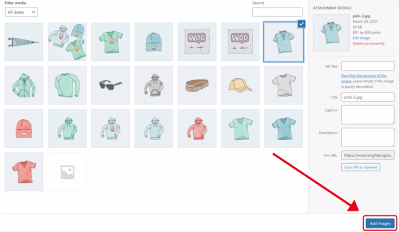 additional variation for woocommerce plugin all products add images