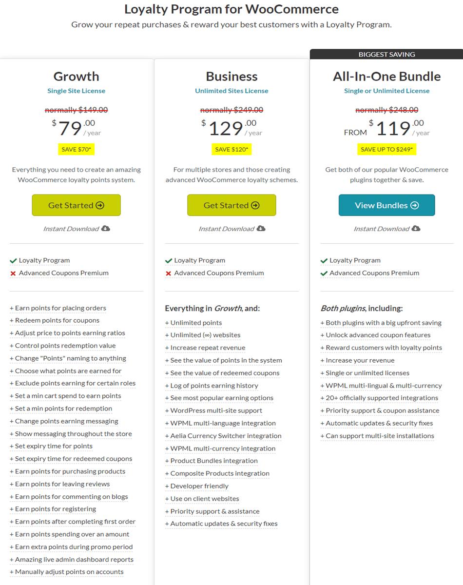 advancedcouponsplugin Loyalty Program for WooCommerce pricing