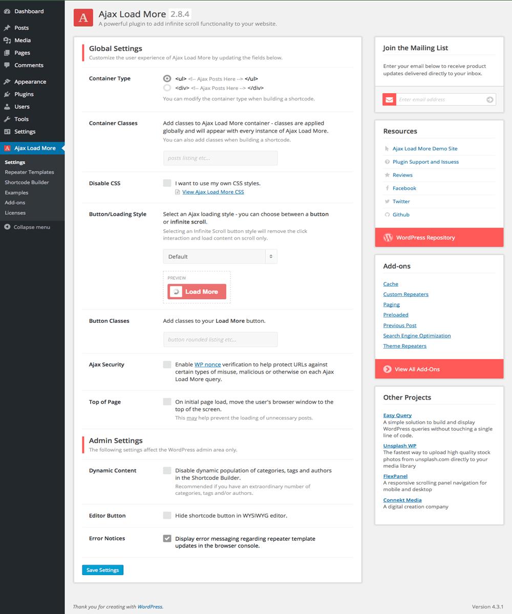 ajax load more wordpress infinite scroll plugin settings screen
