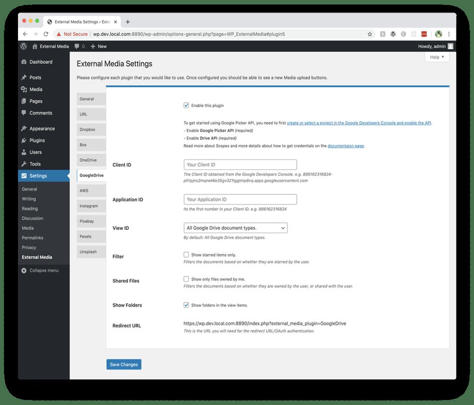 external media wordpress plugin settings
