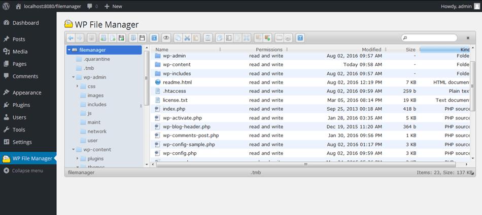 file manager wordpress plugin file view screen