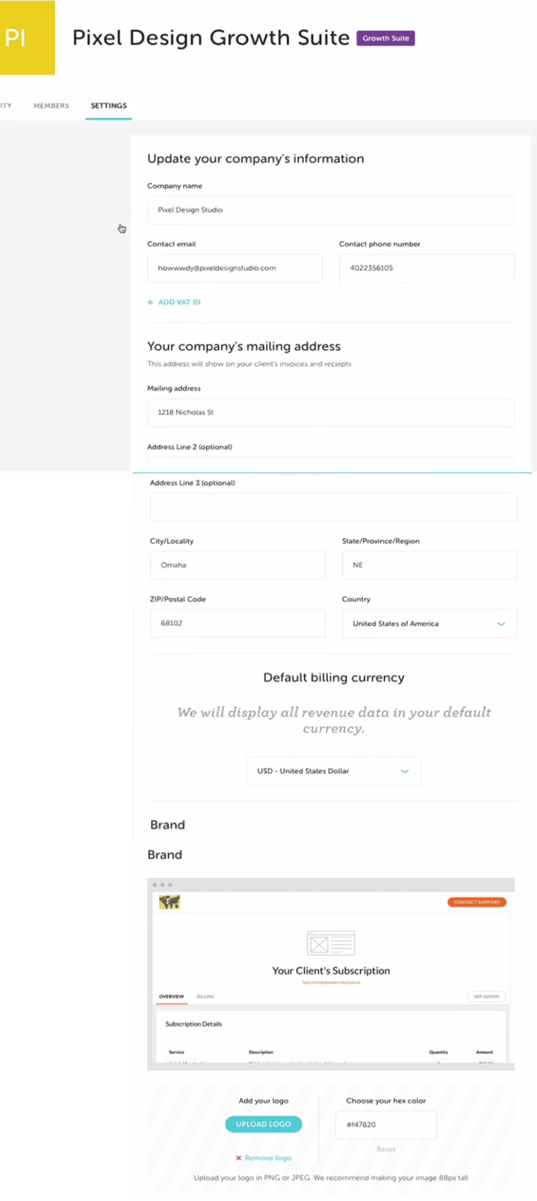 growth suit brand creation setting white label hosting agency