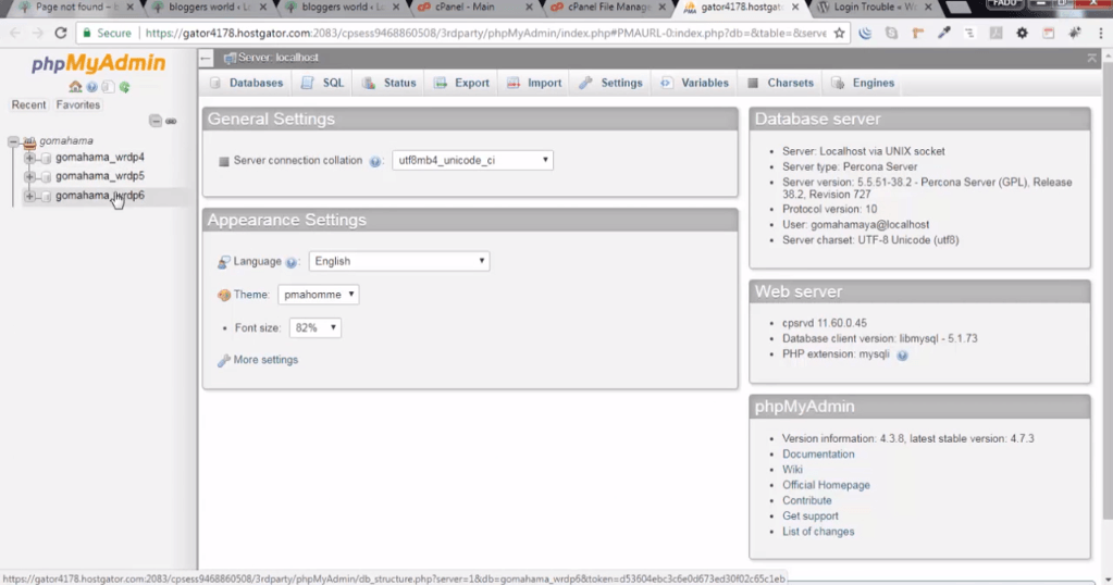 phpMyAdmin domains