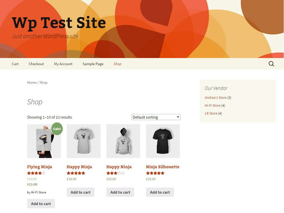 test site for multi vendor website