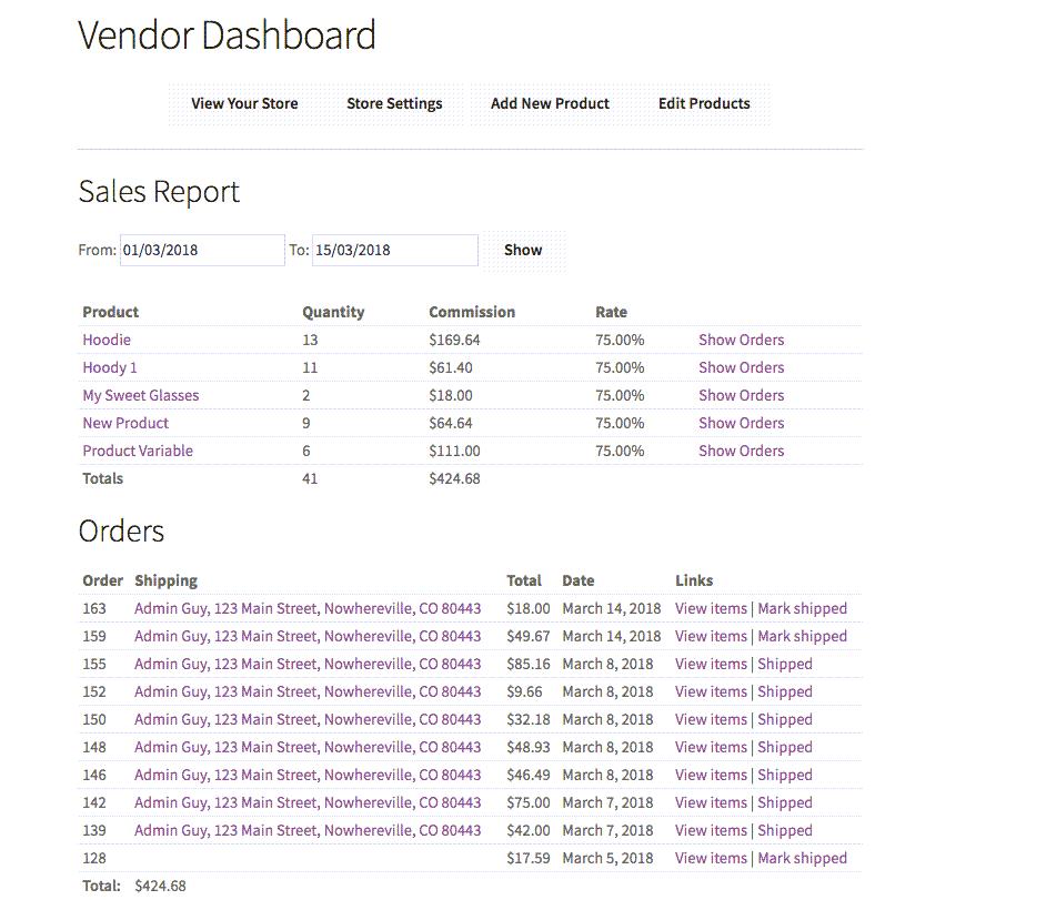 vendor dashboard Overview