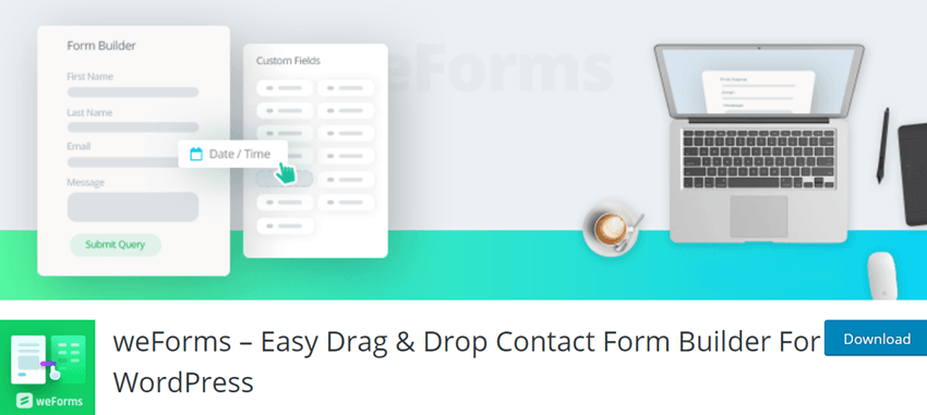 weForms – Easy Drag & Drop Contact Form Builder For WordPress