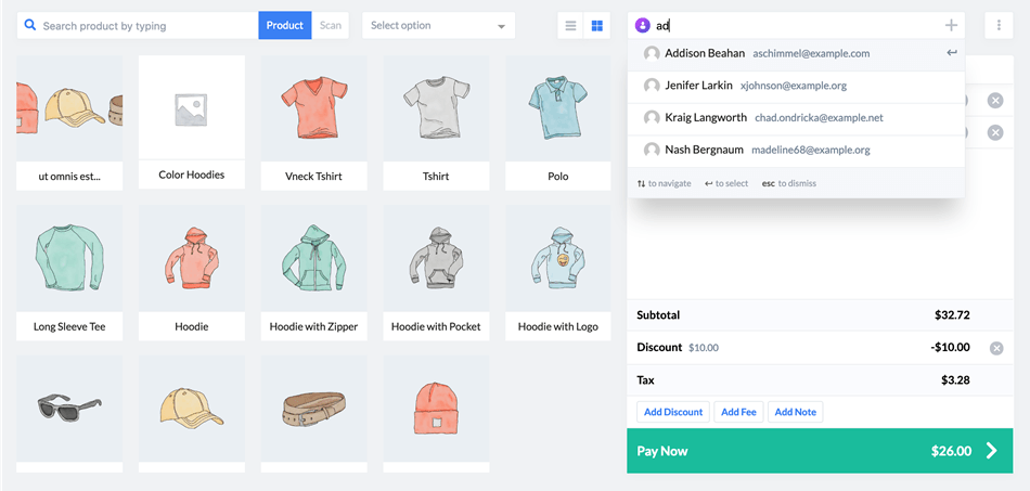 wePOS Point of Sale for Woocommerce customer search