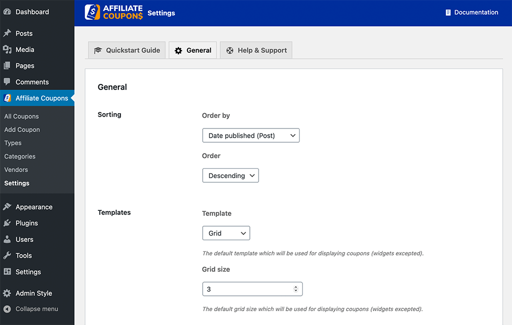 Affiliate Coupons Setting General Option