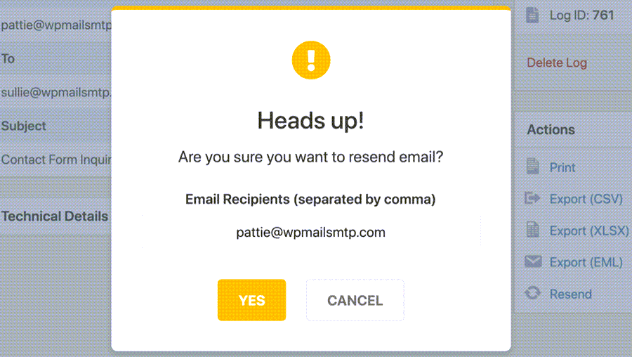 Are You Sure You Want To Resend Email