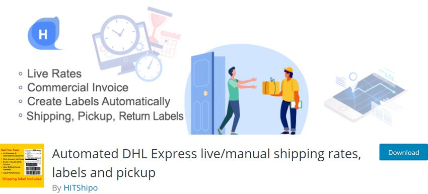 Automated DHL Express live manual shipping rates, labels and pickup