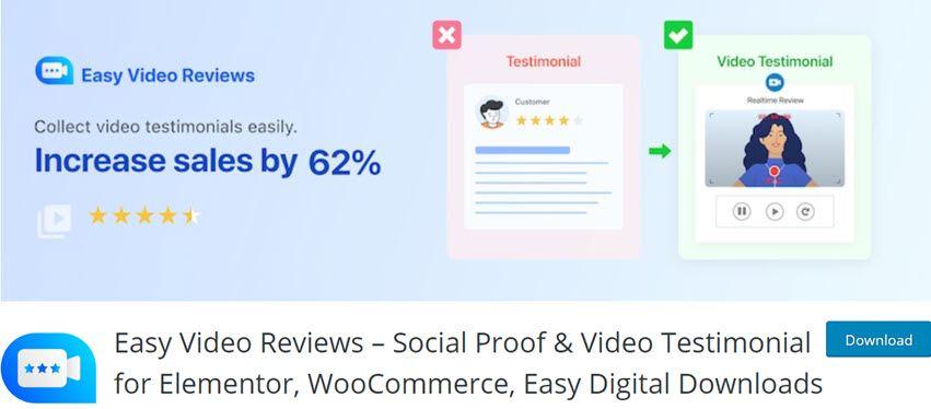 Easy Video Reviews – Social Proof & Video Testimonial for Elementor, WooCommerce, Easy Digital Downloads