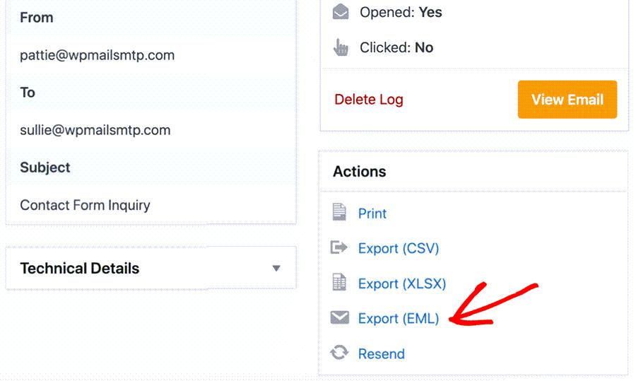 Email EML Export In WordPress