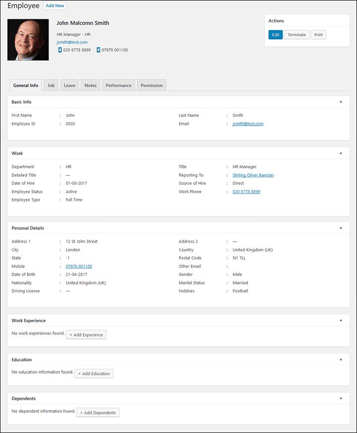 Employee General Info In WordPress