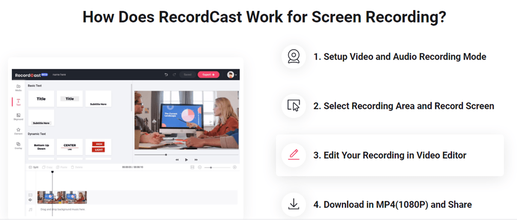 How Does RecordCast Work for Screen Recording