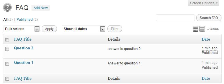 How To Add New FAQ Screenshot