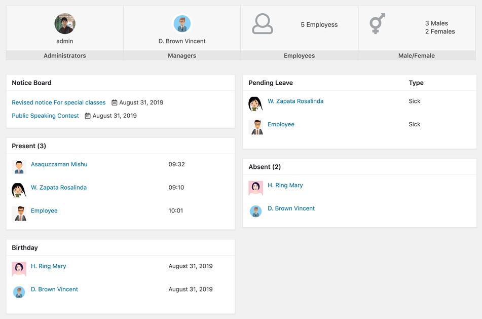 Human Resource Management WordPress Dashboard