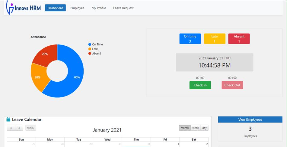 Innovs HRM Attendance Dashboard In WordPress