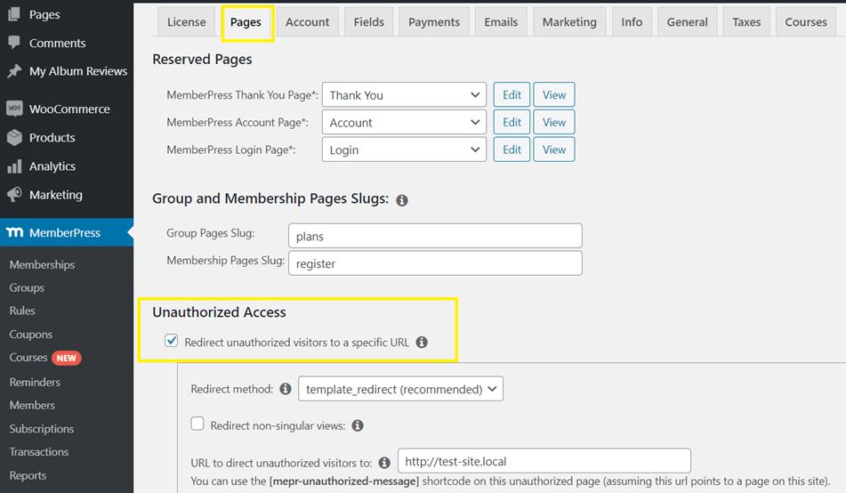MemberPress Rules Redirecting Unauthorized User