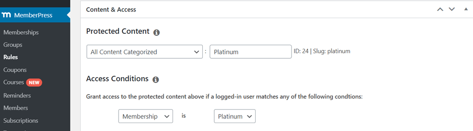 MemberPress Rules Restrict Content By Category