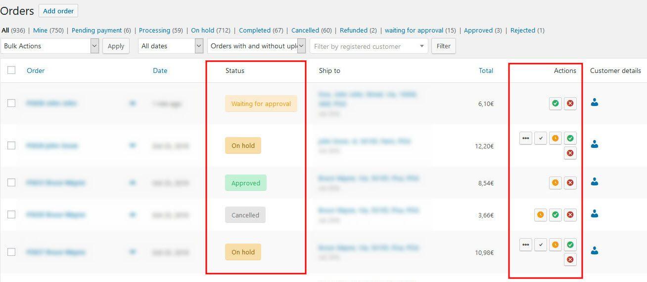 Order Status In WooCommerce Dashboard Screenshot
