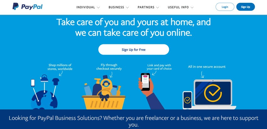 PayPal take Care Of You And Your at Home, and We Can Take Care Of You Online