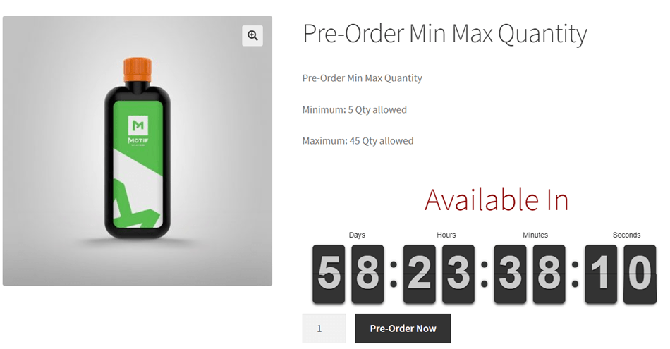 Pre-Order Min-Max Quantity With Count Down Timer Example