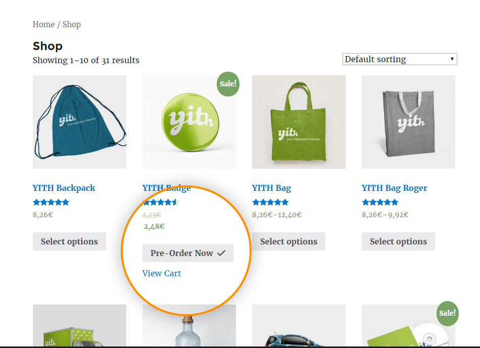 Pre-Order Shoping Example