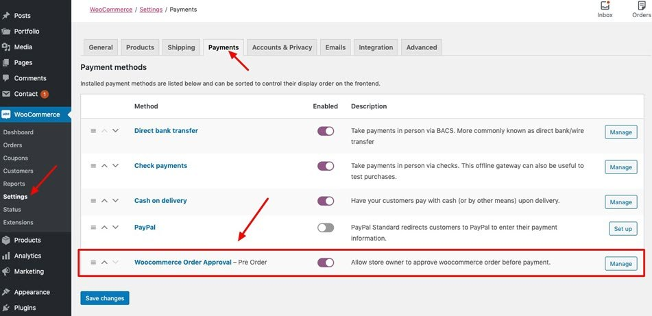 Pre-Order WooCommerce Order Approval Payments Setting