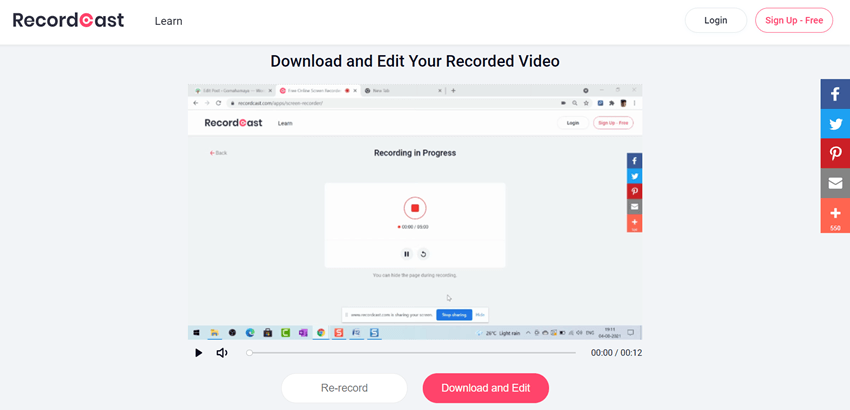 Recordcast Download And Exit Your Recorded video