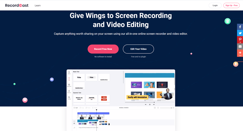 Recordcast Give Wings to Screen Recording and Video Editing
