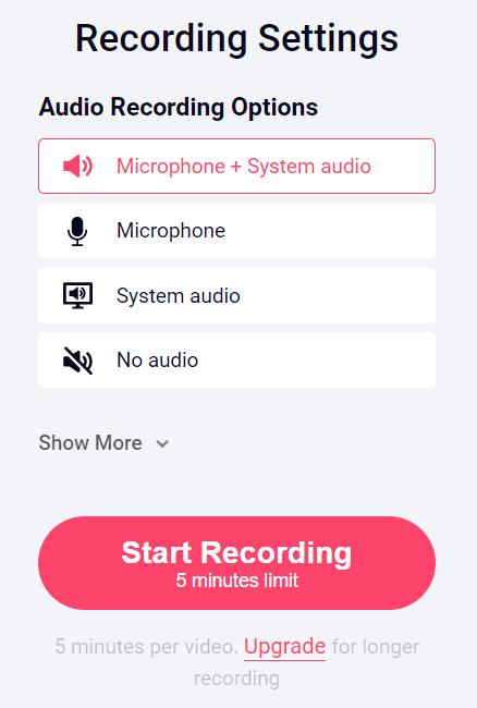Recordcast Recording setting