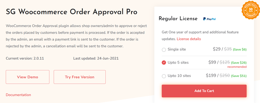 SG Woocommerce Order Approval Pro