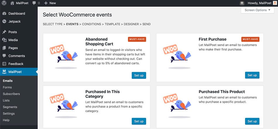 Select Woocommerce Events In MailPoet Such As Abandoned Cart