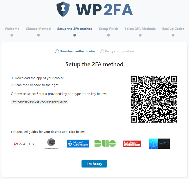 Setup The WP 2FA Method Screenshot