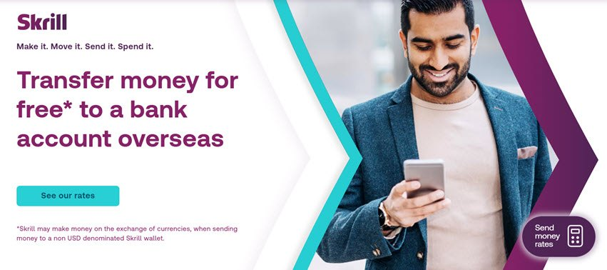 Skrill Transfer money for free to a Bank Account Overseas