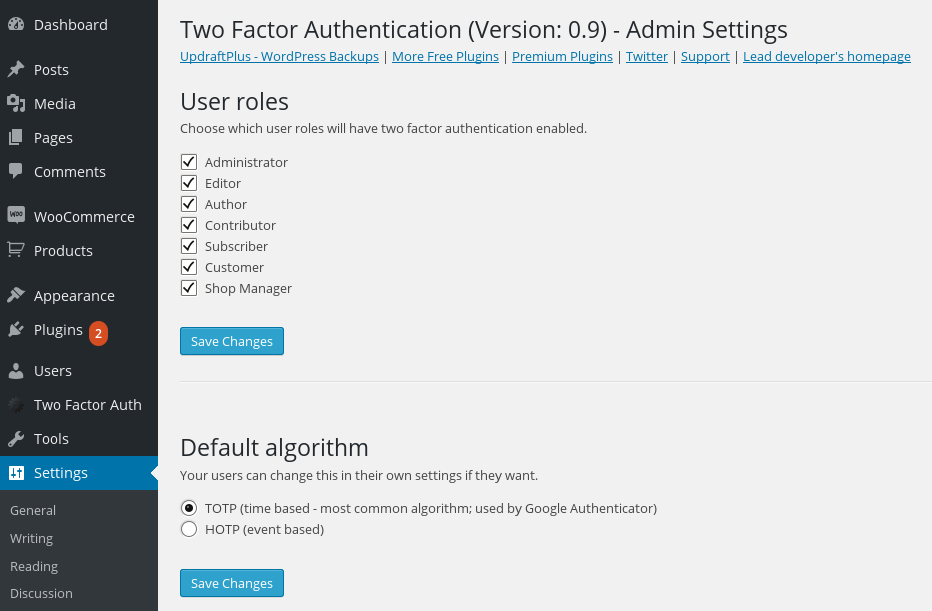 Two Factor Authentication Admin Setting