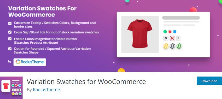 Variation Swatches for WooCommerce By RadiusTheme