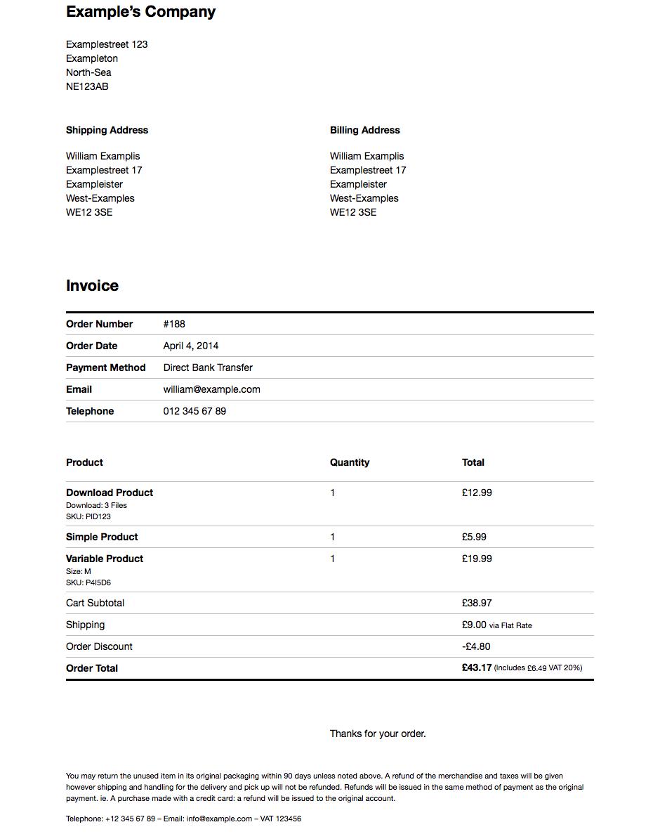 WooCommerce Company Invoice Screenshot