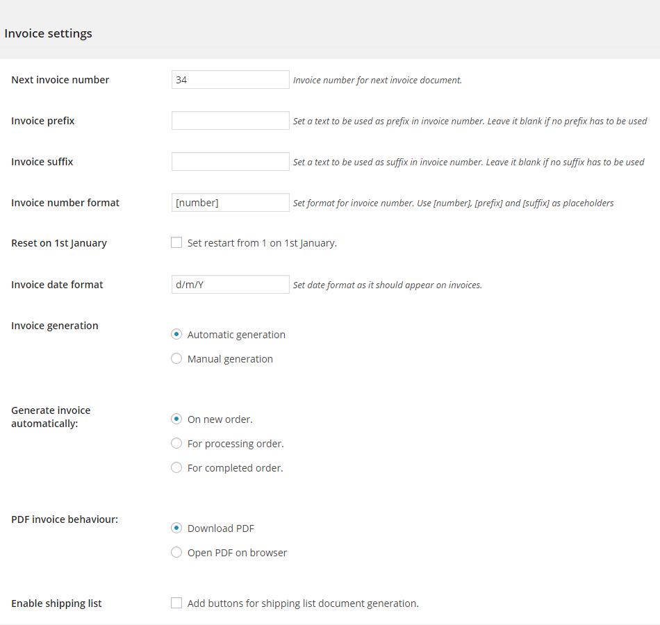 WooCommerce Invoice Setting