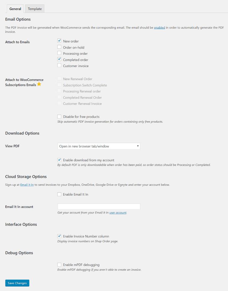 WooCommerce Invoice general setting