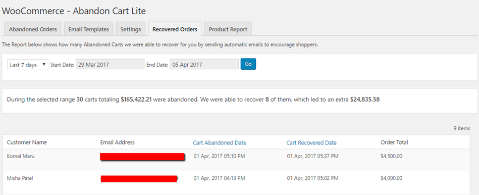 Woocommerce Abandoned Card Recovered Orders Overview