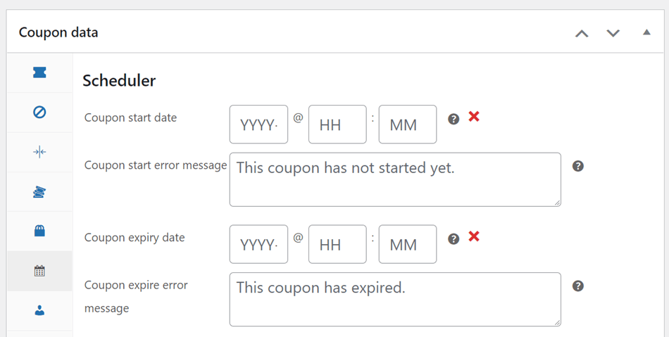 coupon scheduler with coupon start date and coupon expiry date setting