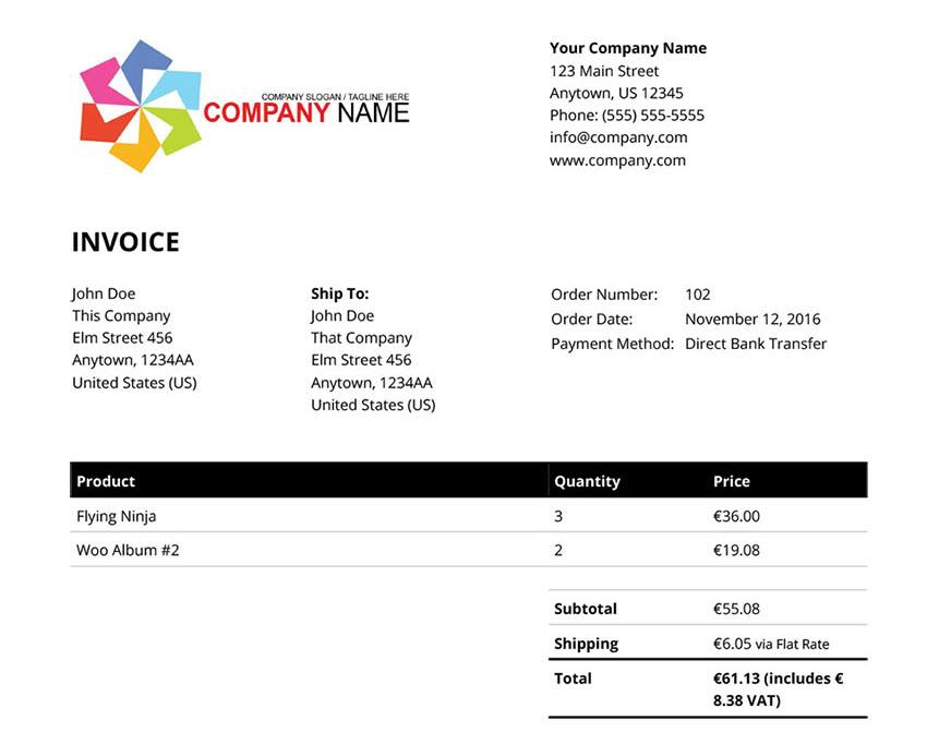woocommerce product Pdf invoices Example