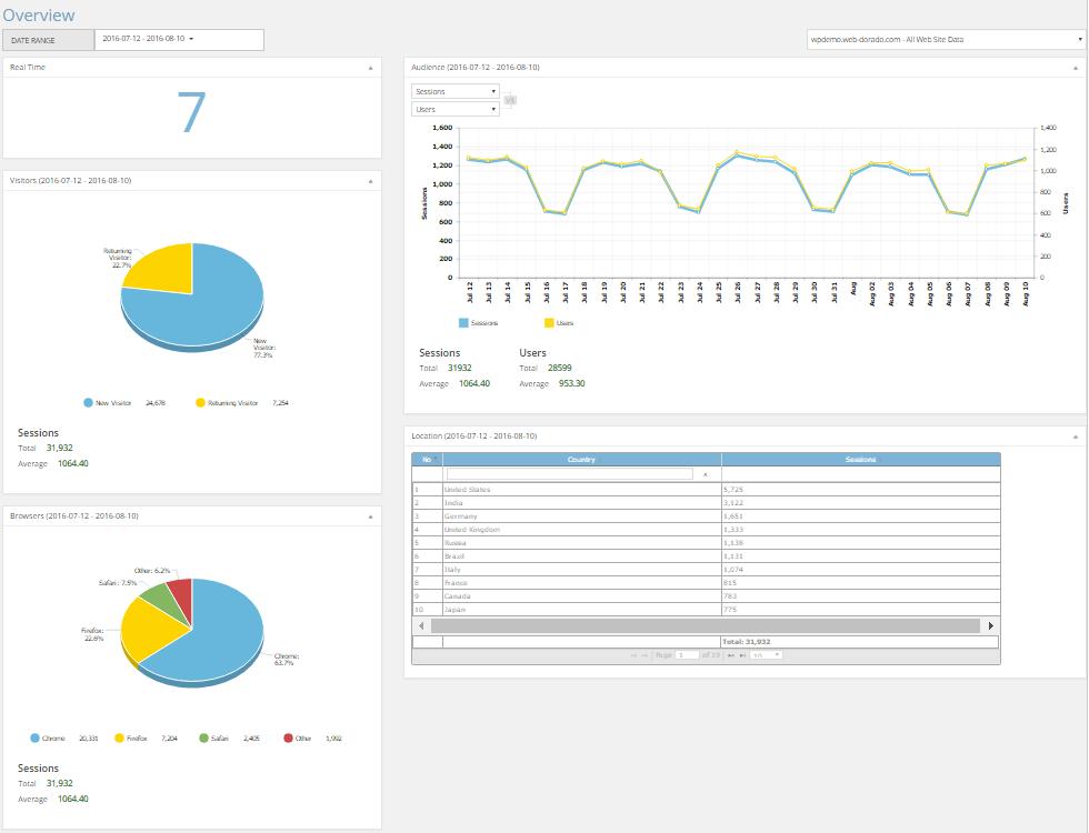 10 Web Analytics Dashboard Overview