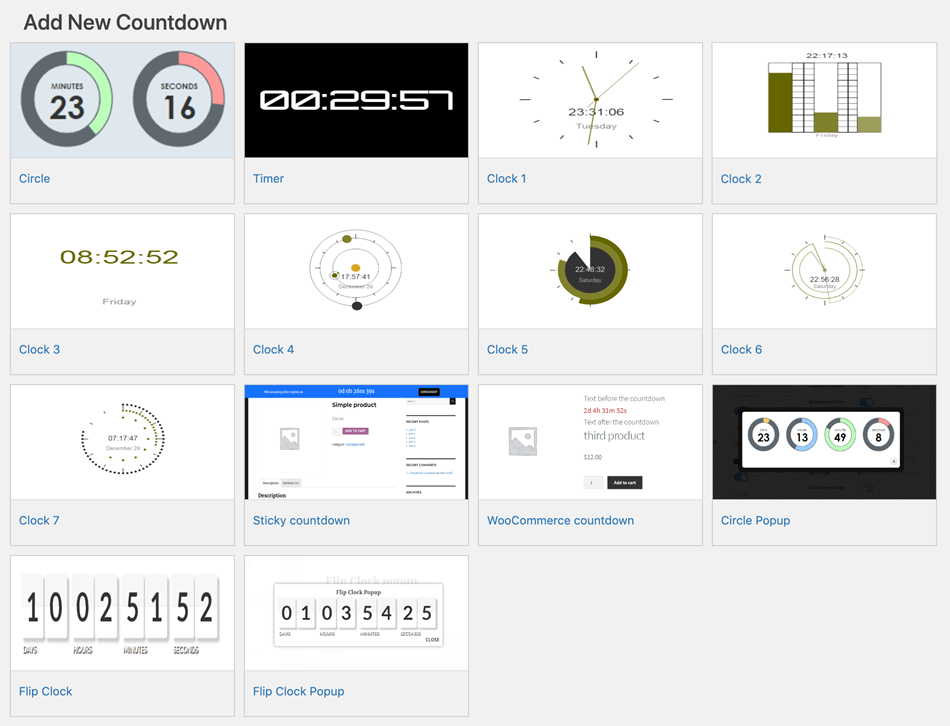 Add New Different Types Of Countdown widget Screenshot