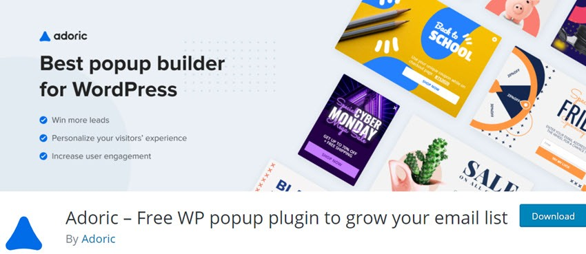 Adoric – Free WP popup plugin to grow your email list