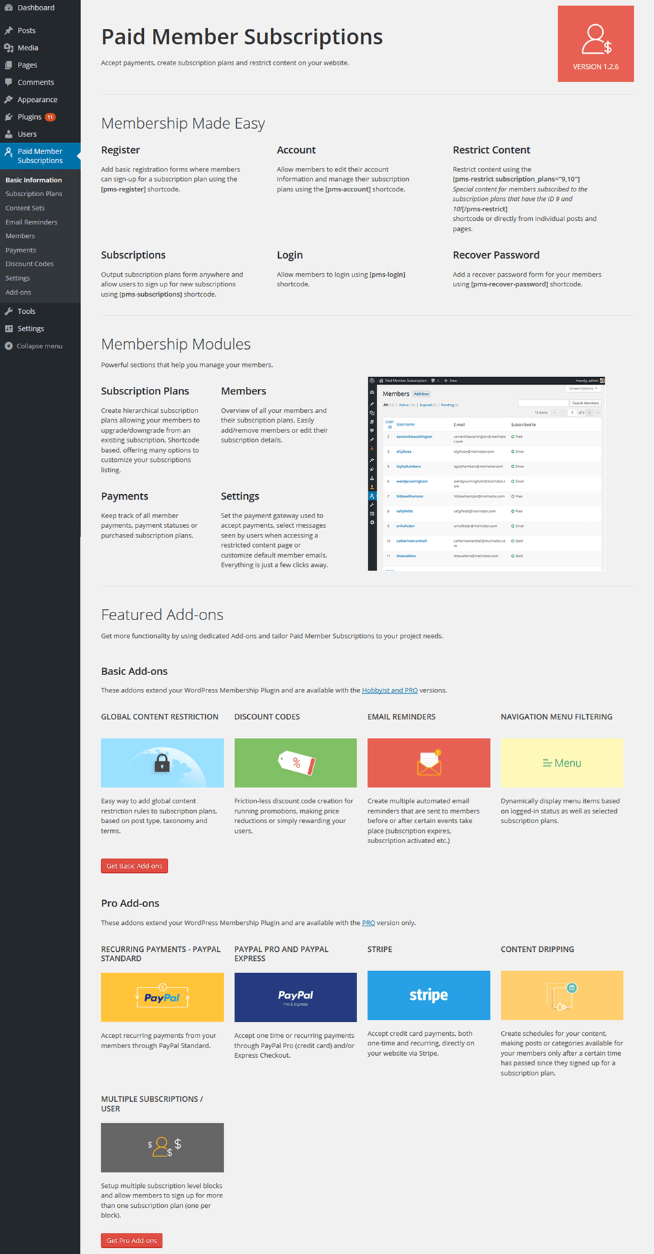Basic Information Page For Paid Member Subscription Membership Plugin