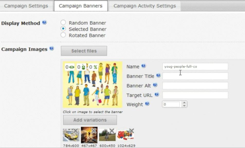 Campaign banners and variations Display Method demo